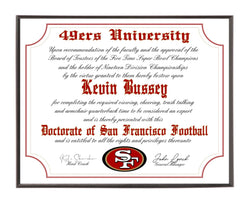 Personalized San Francisco 49ers Ultimate Football Fan Diploma Wood Plaque