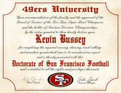 "San Francisco 49ers Ultimate Football Fan Personalized Diploma - Perfect Gift - 8.5"" x 11"" Parchment Paper"