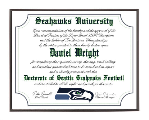 Personalized Seattle Seahawks Ultimate Football Fan Diploma Wood Plaque