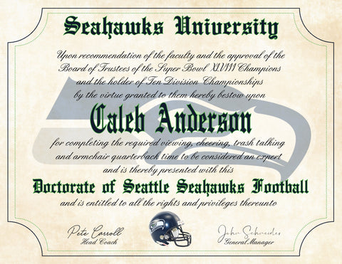 "Seattle Seahawks Ultimate Football Fan Personalized Diploma - Perfect Gift - 8.5"" x 11"" Parchment Paper"