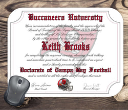 Tampa Bay Buccaneers Ultimate Football Fan Personalized Diploma - Mouse Pad
