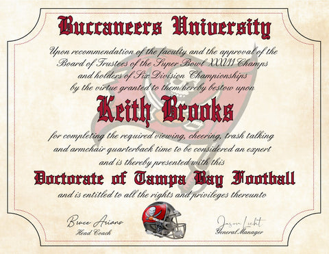 "Tampa Bay Buccaneers Ultimate Football Fan Personalized Diploma - Perfect Gift - 8.5"" x 11"" Parchment Paper"