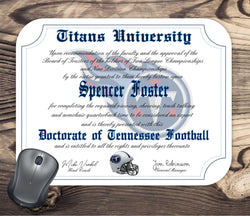 Tennessee Titans Ultimate Football Fan Personalized Diploma - Mouse Pad