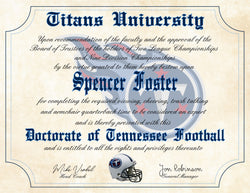 "Tennessee Titans Ultimate Football Fan Personalized Diploma - 8.5"" x 11"" Parchment Paper"