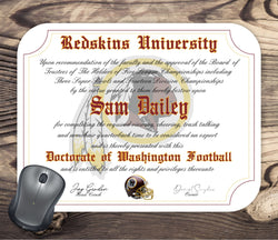 Washington Redskins Ultimate Football Fan Personalized Diploma - Mouse Pad