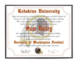 Personalized Washington Redskins Ultimate Football Fan Diploma Wood Plaque