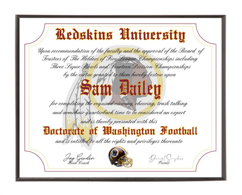 Personalized Wood Plaque of the Washington Redskins for the Ultimate Football Fan