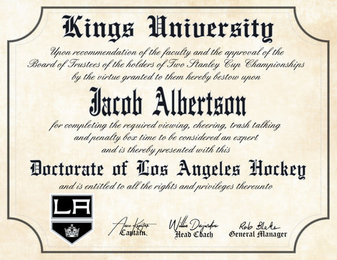 LA Kings Ultimate Hockey Fan Personalized Diploma - Perfect Gift