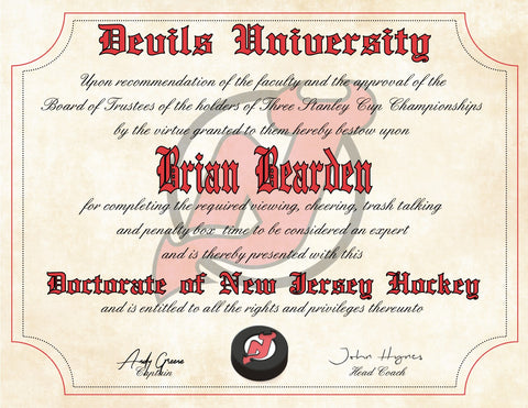 New Jersey Devils Ultimate Hockey Fan Personalized Diploma - Perfect Gift