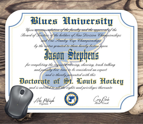 St. Louis Blues Ultimate Hockey Fan Personalized Diploma - Mouse Pad - Perfect Gift