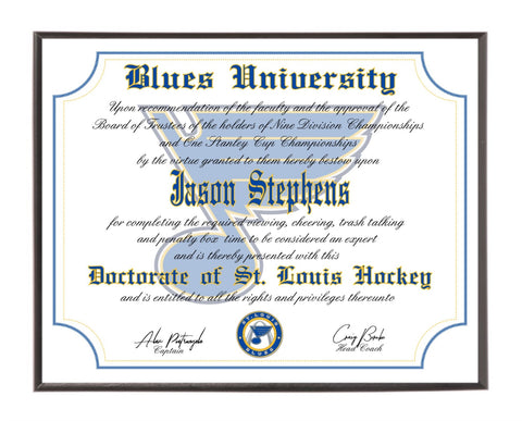Personalized St. Louis Blues Ultimate Hockey Fan Diploma Wood Plaque