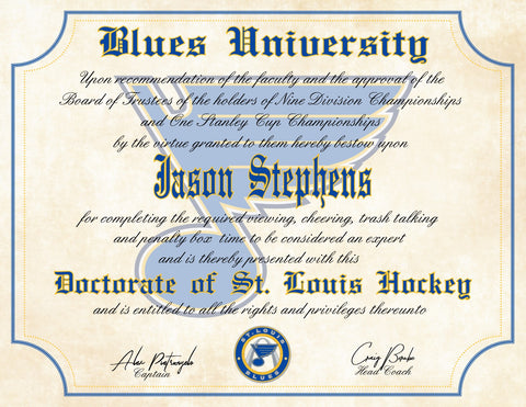 St. Louis Blues Ultimate Hockey Fan Personalized Diploma - Stanley Cup Champions
