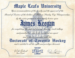 "Toronto Maple Leafs Ultimate Hockey Fan Personalized Diploma -  8.5"" x 11"""