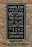 New York City Subway Sign Print - Harlem, Midtown, Times Square, East Village, Soho, Chinatown