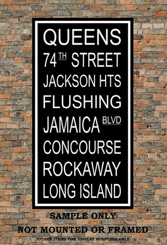 New York City Subway Sign Print - Queens, Jackson Heights, Flushing, Rockaway, Long Island - Multiple Sizes