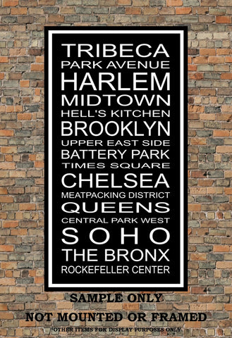 New York City Neighborhoods Subway Sign Print - Tribeca, Park Ave, Harlem, Brooklyn, The Bronx