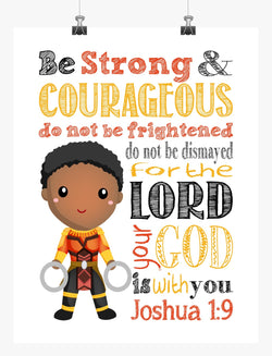 Nakia Black Panther Christian Superhero Nursery Decor Art Print - Be Strong & Courageous Joshua 1:9