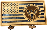 Small American Flag, US Navy Military desk flag, Engraved Wood Painted Rustic Style Flag
