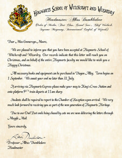 Hogwarts Personalized Harry Potter Acceptance Letter with Christmas Wishes from Albus Dumbledore