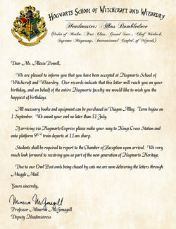 Hogwarts Personalized Harry Potter Acceptance Letter with Birthday Wishes