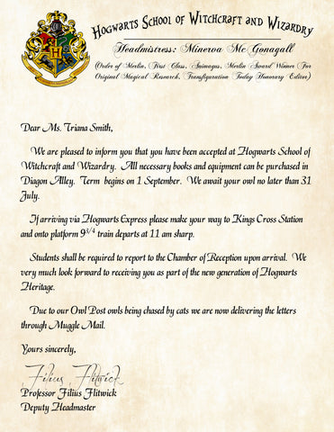 Personalized Harry Potter Acceptance Letter, Hogwarts School of Witchcraft and Wizardry with Headmistress Minerva McGonagall