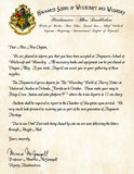 Hogwarts Personalized Acceptance Letter Announcing Visit to The Wizarding World of Harry Potter