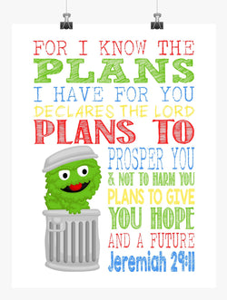 Oscar the Grouch Sesame Street Christian Nursery Decor Print, For I Know The Plans I Have For You, Jeremiah 29:11