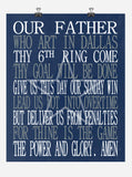 Football Lord's Prayer - Our Father who art in Dallas - Dallas Cowboys Christian print - gift sports wall art - multiple sizes