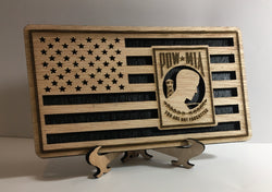 POW MIA USA Military Flag, desk flag, wall flag, Engraved Wood Painted Rustic Style American Flag Veteran Appreciation
