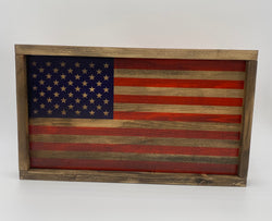 Painted Wooden Framed American Flag, Wood American Flag Decor, Wood Flag, Handmade Wooden Flag, Wood Sign, Wood Art, Wood Working