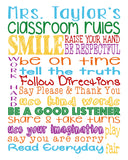 Personalized Classroom Rules - Prefect Gift for a Teacher - Available in Multiple Sizes