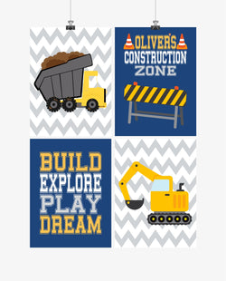 Personalized Construction Nursery Prints Set of 4 Build, Explore, Play and Dream