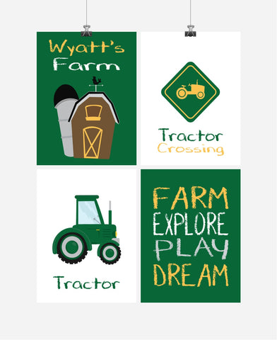 Personalized Farm Nursery Art Set of 4 Prints Farm Explore Play Dream