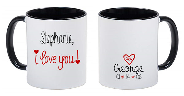 Personalized Valentine's Day Coffee Mugs Black, White and Red - I Love you! XOXO