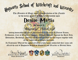 Personalized Harry Potter Diploma - Hogwarts School of Witchcraft and Wizardry Degree of Master of Witchcraft