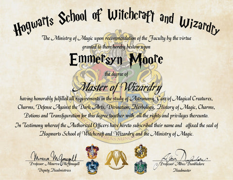 Personalized Harry Potter Diploma - Hogwarts School of Witchcraft and Wizardry Master Degree