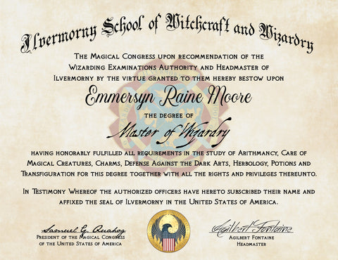 Personalized Ilvermorny School of Witchcraft and Wizardry Diploma - American Hogwarts