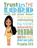 Pocahontas Christian Princess Nursery Decor Wall Art Print - Trust in the Lord with all your heart - Proverbs 3:5-6 Bible Verse - Multiple Sizes