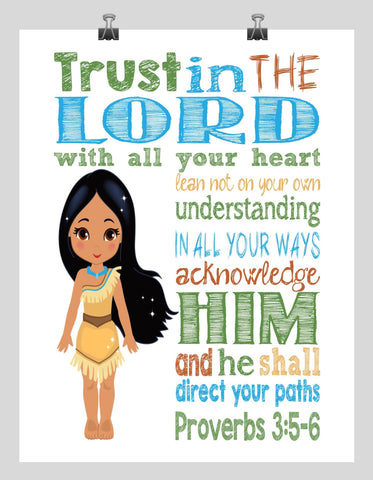 8e7a49341a8d4 Pocahontas Christian Princess Nursery Decor Wall Art Print - Trust in the  Lord with all your