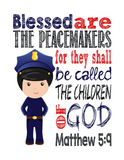 Police Real Life Superhero Christian Nursery Print, Blessed are the peacemakers, Matthew 5:9