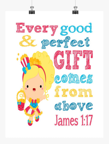 Popette Shopkins Christian Nursery Decor Print, Every Good and Perfect Gift Comes From Above