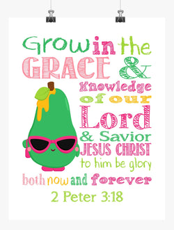 Posh Pear Shopkins Christian Nursery Decor Print, Grow in Grace and Knowledge, 2 Peter 3:18