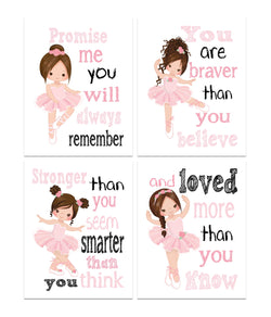 Ballerina Motivational Nursery Decor Set of 4 Prints Promise Me You will Always Remember