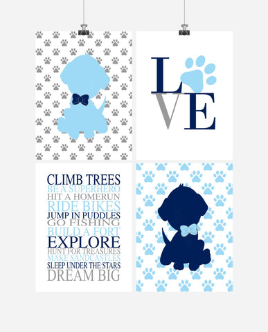 Baby Boy Nursery Art Set of 4 Prints - Puppy Love Paw Print Boys Rules