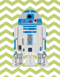 Personalized Star Wars Nursery Decor Set of 4 Prints, I Love You to the Moon and Back, Luke Skywalker and R2D2 in Sage, Navy and White