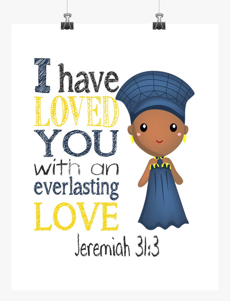 Ramonda Black Panther Christian Superhero Nursery Decor Art Print - I have loved you with an everlasting love - Jeremiah 31:3