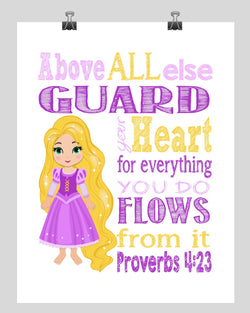 Rapunzel Christian Princess Nursery Decor Print, Above all else Guard your Heart Proverbs 4:23