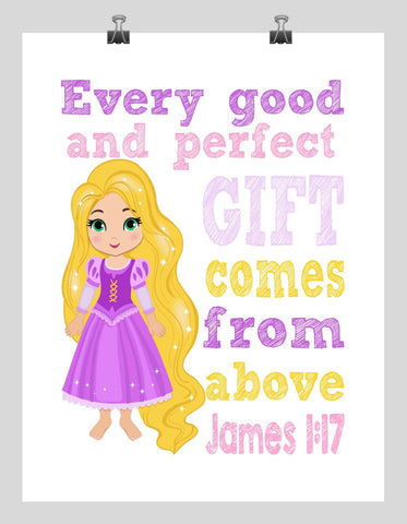 Rapunzel Christian Princess Nursery Decor Print - Every Good and Perfect Gift Comes From Above - James 1:17