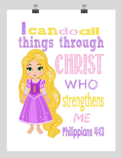 Rapunzel Christian Princess Nursery Decor Art Print - I Can Do All Things Through Christ Who Strengthens Me - Philippians 4:13