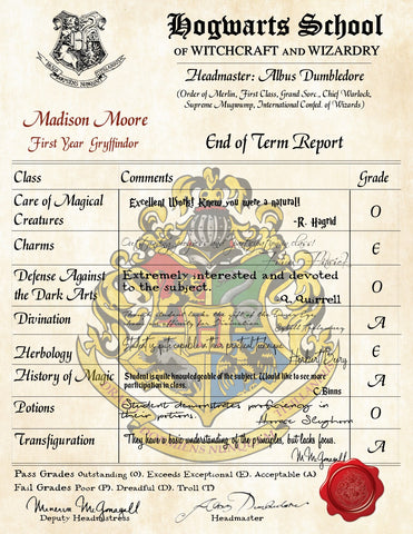 Gryffindor Personalized Harry Potter Report Card - Hogwarts School of Witchcraft and Wizardry